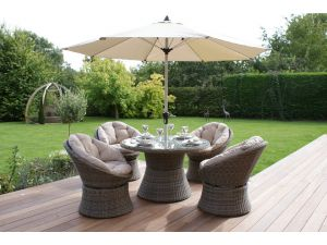 Maze Winchester 4 Seat Rattan Swivel Dining Set