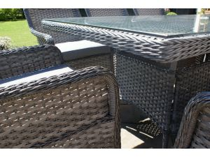 Maze Victoria 8 Seat Grey Rattan Dining Set with Square Chairs