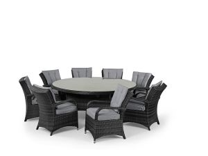 Maze Texas 8 Seat Round Rattan Dining Set - Grey