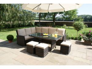 Maze Kingston 8 Seat Rattan Corner Dining Set - Brown