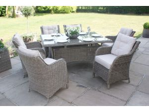 Maze Winchester Rattan 6 Seat Rectangular Dining Set with Square Chairs