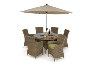 Maze Milan Rattan 6 Seat Round Dining Set with Green Cushions