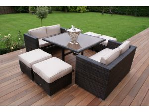 Maze 8 Seat Rattan Cube Sofa Set - Brown