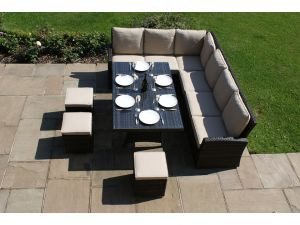 Maze Tuscany Kingston 8 Seat Corner Rattan Dining Set