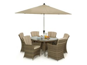 Maze Winchester Rattan 6 Seat Round Dining Set with Carver Chairs