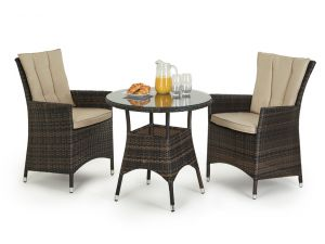 Maze LA 2 Seat Rattan Bistro Set - Brown