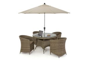 Maze Milan Rattan 4 Seat Round Dining Set with Round Chairs - Beige Cushions