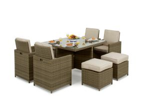 Maze Tuscany 5pc 4-8 Seat Rattan Cube Set with Footstools