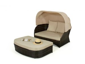 Maze Rattan Day Bed with Hood - Brown
