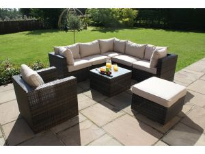 Maze London Rattan Corner Sofa Set with Chair - Brown