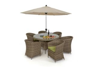 Maze Milan Rattan 6 Seat Round Dining Set with Round Chairs - Green Cushions