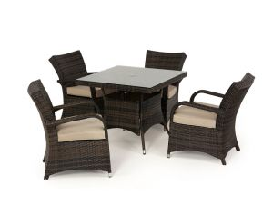 Maze Texas 4 Seat Square Rattan Dining Set - Brown