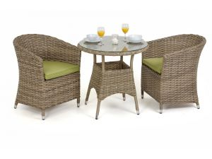 Maze Milan Rattan 2 Seat Bistro Set with Round Chairs - Green Cushions