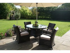 Maze Texas 4 Seat Round Rattan Dining Set - Brown