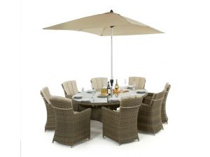 Maze Winchester Rattan 8 Seat Oval Dining Set with Carver Chairs