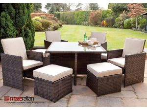 Maze 5pc 4-8 Seat Rattan Cube Dining Set with Footstools - Brown
