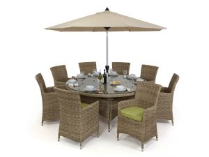 Maze Milan Rattan 8 Seat Round Dining Set with Green Cushions