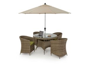 Maze Milan Rattan 4 Seat Round Dining Set with Round Chairs - Green Cushions