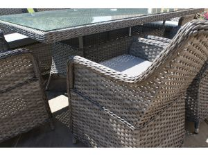 Maze Victoria 4 Seat Rattan Square Dining Set with Square Chairs - Grey