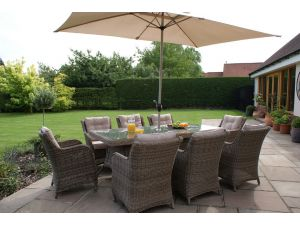 Maze Winchester Rattan 8 Seat Rectangular Dining Set with Square Chairs