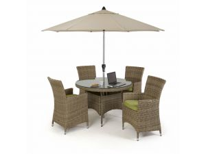 Maze Milan Rattan 4 Seat Round Dining Set with Green Cushions
