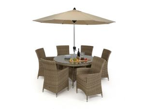Maze Milan Rattan 6 Seat Round Dining Set with Beige Cushions
