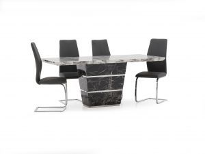 Valdina 160cm Marble Table + 4 Elis Leather Dining Chairs