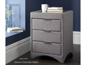 Kaydian Valencia Elephant Grey Fabric 3 Drawer Bedside Cabinet