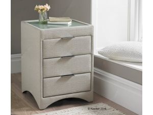Kaydian Valencia Linen Fabric 3 Drawer Bedside Cabinet