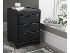 Kaydian Valencia Black Leather 3 Drawer Bedside Cabinet