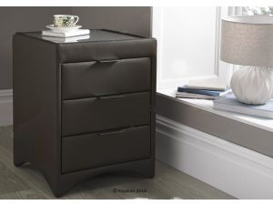 Kaydian Valencia Brown Leather 3 Drawer Bedside Cabinet
