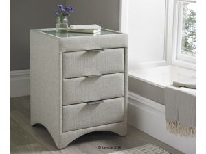 Kaydian Valencia Oatmeal Fabric 3 Drawer Bedside Cabinet