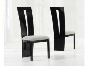 Valencie Black Solid Wood And High Gloss Dining Chairs (Pair)
