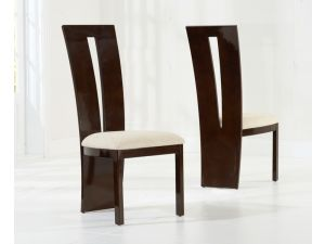 Valencie Brown Solid Wood And High Gloss Dining Chairs (Pair)