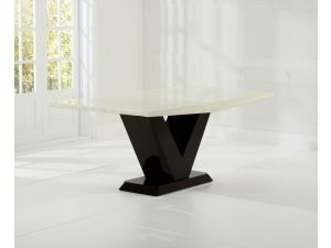 Valencie 180cm Cream and Brown Constituted Marble Dining Table
