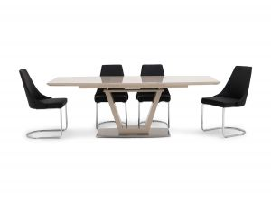 Fairmont Valente Ext Cream High Gloss Dining Table + 6 Mya Chairs