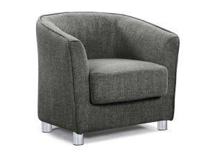 Vegreville CHARCOAL GREY FABRIC TUB CHAIR