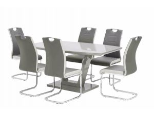 Venice White High Gloss 160cm Rectangular Dining Table With 6 Venice Grey Leather Dining Chair