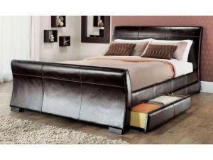 Vancouver 5ft Kingsize Brown Sleigh Leather Storage Bed
