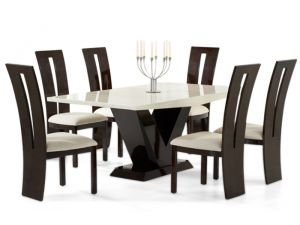 Valencie 180cm Cream and Brown Constituted Marble Dining Table with Valencie Black Chairs