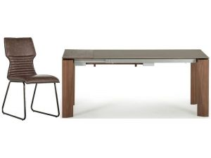 Serafina 180cm Brown Ceramic Ext. Dining Table + 6 Chairs