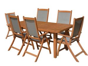 Royalcraft Broadway 6 Seat Wooden Dining Set with 6 Grey Henley Chairs