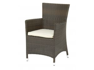 Royalcraft Cannes Rattan Mocha Brown Fixed Carver Chair With Cushion