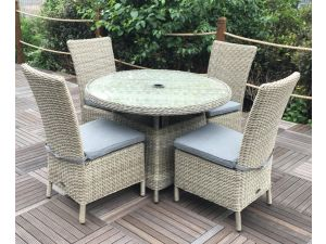 Royalcraft Wentworth 4 Seater 110cm Round Dining Set with 4 Side Chairs