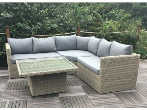 Royalcraft Wentworth 4pc Corner Lounging Rattan Sofa Set with Adj. Coffee Table