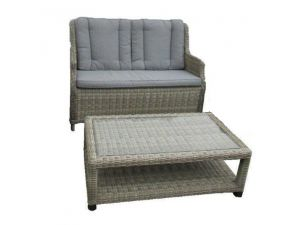 Royalcraft Wentworth Rattan 2 Seater Highback Sofa with Coffee Table
