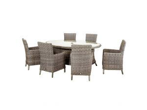 Royalcraft Wentworth 6 Seater Oval Rattan Dining Set With Carver Chairs