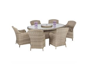 Royalcraft Wentworth 6 Seater Rattan Oval Dining Set with Imperial Chairs