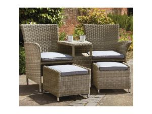 Royalcraft Wentworth Rattan Fixed 2 Seater Companion Set With Footstools