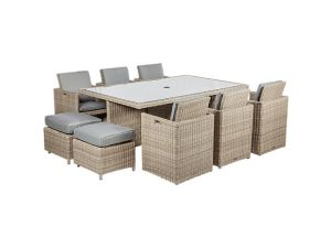 Royalcraft Wentworth 6/10 Seater Rattan Cube Set With 4 Footstools